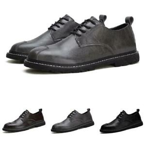 Mens Business Oxfords Lace up Flats Non-slip Retro Low Top Leisure Leather Shoes