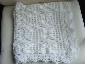 "WHITE SPARKLE HAND KNIT CROCHET BLANKET 28"" X 28"""