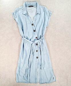 ZARA Womens Blue Sleeveless Button Up Shirt Dress Size Extra Large