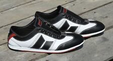 Rare MacBeth Brighton Band Men's 12 Leather Skate Shoe Black & White w/ Red