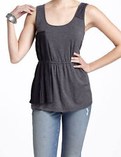 Bordeaux Crinkle Swatch Tank Top Size Medium Grey NW ANTHROPOLOGIE Tag