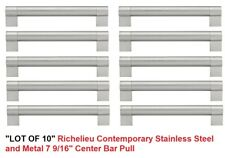 """LOT OF 10  Richelieu Contemporary StainlessSteel & Metal 7 9/16"""" Center Bar Pull"""