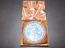 WARWICK WARE BLUE & WHITE BUTTER PAT DISH IN OAK BASE no.G189 BOXED