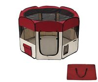 """33"""" Dog Kennel Pet Fence Puppy Soft Playpen Exercise Pen Folding Crate Wine New"""