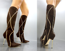 CQ COUTURE CUSTOM KNEE BOOTS STIEFEL STIVALI GOLD CHAIN LEATHER BROWN MARRONE 40