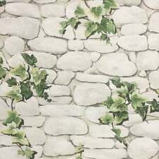 Ivy Brick Effect Wallpaper Stone Slate Textured Embossed White Green Erismann