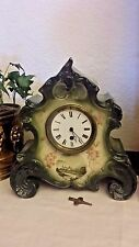 Antique French Porcelain Clock Time Only Heavy Beveled Glass Runs Original