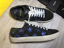 YSL Saint Laurent Women Black Suede Trainers With Blue Stars Sz 35.5 RRP£450 New