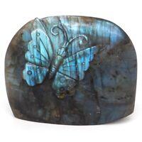 "3.4"" Butterfly Natural Gems Labradorite Crystal Carved Animal Figurine Crafts"