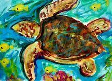 ORIG ACEO PAINTING Sea Life TURTLE Ocean Reef Reptile Tortoise Beach Fish ART