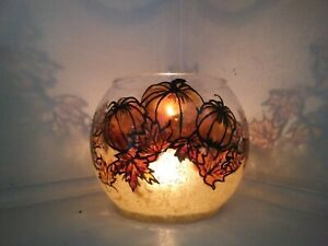 Candles Holders Glass Vase Hand Painted fall leaves and pumpkin thanksgiving