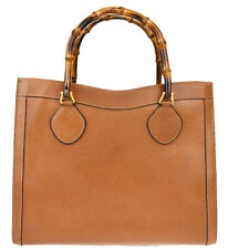 Authentic GUCCI Logo Bamboo Tote Hand Bag Leather Brown Made In Italy 02Z052