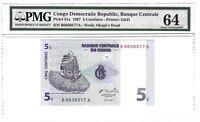 64 EPQ PMG 5 Centimes 1997 Congo Democratic Republic Banknote SN:B0030577A # 81a