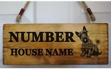 House Number Name Plaque Plate Personalised Sign Scottish Scottie Dog terrier