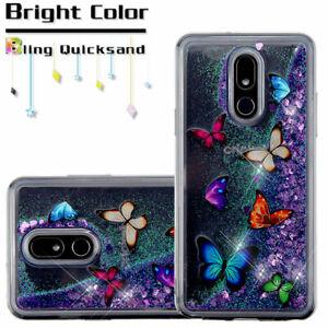 LG STYLO 5 / STYLO 5+ 5V 5X - TPU Waterfall Liquid Glitter Case Purple Butterfly