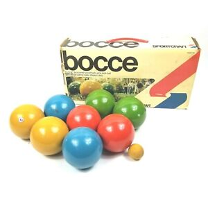 Vintage 1981 SportCraft  Bocce Ball Set w/ original box Made In Italy