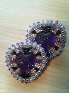 Native American Beaded Purple Hearts Earrings