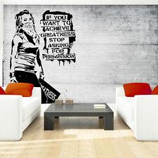 Wandbild Tapeten Fototapete Banksy Madchen grau Graffiti mauer 3fx2899p4