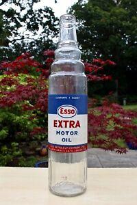 VINTAGE c1950s ESSO PETROLEUM Co LONDON ESSO EXTRA LABELLED QUART OIL BOTTLE