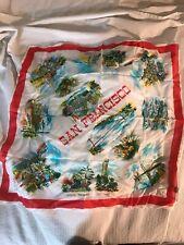 Vintage State Souvenir Handkerchief San Fransisco tourist hanky Large Scarf