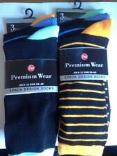 ** 12 X MENS BLACK SOCKS WITH ORANGE & BLUE STRIPES TOE & HEEL 06-11 NEW ** M427