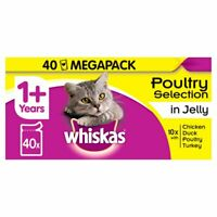 Whiskas Poultry Selection in Jelly 40 Pack 1+, Chicken, Duck, Poultry & Turkey