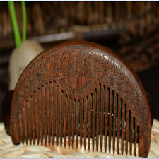 1pc Natural Brown Comb Sandalwood Massage Hair Comb Wooden Pouch Beard Comb US