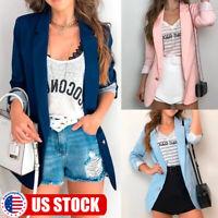 Women Slim OL Suit Casual Blazer Jacket Coat Tops Outwear Long Sleeve Cardigan