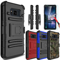 For Samsung Galaxy S8 Active Armor Case With Kickstand Clip + Screen Protector