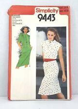 Simplicity 9443 vintage dress obi sash summer spring short sleeve sleeveless
