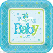 WELCOME LITTLE BOY SMALL PAPER PLATES (8) ~ Baby Shower Party Supplies Dessert
