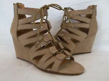 Dolce Vita 8 M Rhoda Taupe Leather Open Toe Leather Wedges New Womens Shoes NWOB