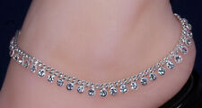 Bollywood Designer CZ Silver Tone Indian Anklets Payal ( CCN25 ) - 1 Pair