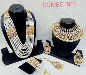 Indian Kundan Pearl Gold Fashion Jewelry Bridal Choker Necklace Set Combo