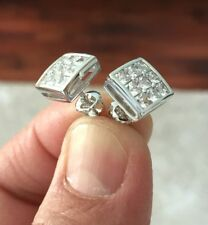 10K W Gold 0.06 ct. Lab Diamond Invisible Set Screw Back Stud Earrings 10mm