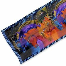 "Laurel Burch - Multicolored Wild Horses of Fire 100% Silk Scarf 11"" x 53"""