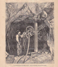 Le perforateur à diamant Leschot et le moteur Perret dessin Lancelot 1866