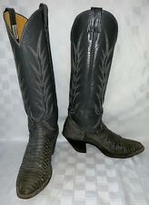 Vintage Womens 6.5 NOCONA 0617A Cowgirl Cowboy Western Snakeskin Tall Gray Boots