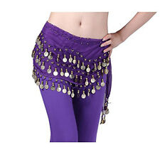 Women Dark Purple New Chiffon Belly Dance Hip Scarf 3 Rows Coin Belt Skirt US
