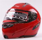 Nuevo Rojo Casco Modular de MOTO/Motocicleta/Scooter 2 Visera Integral Cara