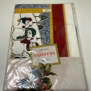 bardwil seasons tablecloth snowman 52x70 rectangle oblong green red NWTs cotton