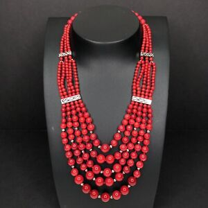 """Lucas Lameth Red Coral Bib Necklace Sterling Silver LUC 925 CN 20"""" Graduated"""
