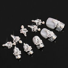 10pcs 3D SILVER CROWN CRYSTAL RHINESTONE ALLOY NAIL ART GLITTERS DIY DECOR