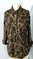 MICHAEL KORS Chainlink Button Down l/s Shirt sz 8 Dressy Career Top NICE!