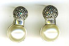 "925 Sterling Silver Marcasite & 1/2 Pearl Stud Earrings 1"" x 1/2"""