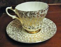 VINTAGE CHINTZ TEA CUP AND SAUCER QUEEN ANNE GOLD WITH BLUE FLOWER RARE