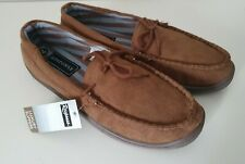 Mens Comfortable Brown Mocassin Slippers -  Size UK 9 / EUR 43