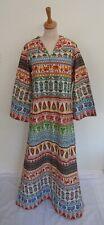 Vintage 60s 70s Indian cotton long maxi ethnic boho kaftan dress M