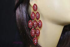 Red goldtone Chandelier Crystal Rhinestone wedding Bridal Prom Party Earrings