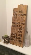 Handmade Shabby Chic Bathroom Sign